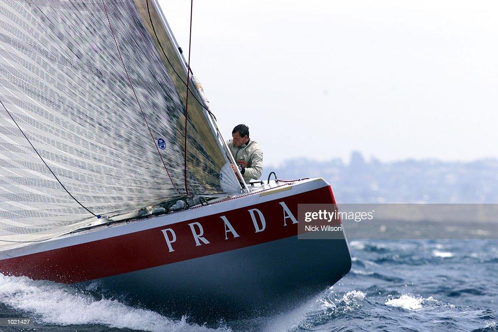 Prada leads AmericaOne during the third race in the Louis Vuitton Finals with Prada winning when AmericaOne retired. Prada leads 2-1 in the best of nine final on the Hauraki Gulf, Auckland, New Zealand. Mandatory Credit: Nick Wilson/ALLSPORT