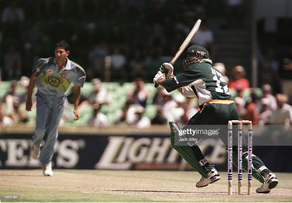 Shahid Afridi of Pakistan scores through square leg off the bowling of Agit Agarkar of India during his innings of 41 during the Carlton and United Breweries one day international between India and Pakistan at the WACA cricket ground, Perth, Australia. Mandatory Credit: Jack Atley/ALLSPORT