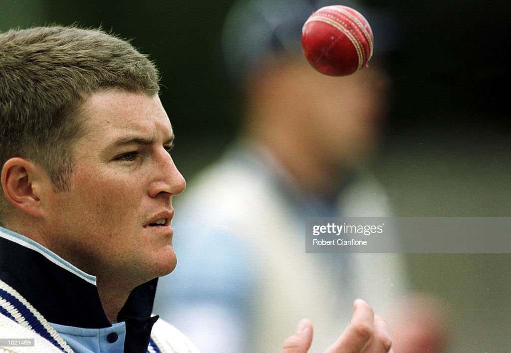 Stuart MacGill of New South Wales, warms up in the nets this morning prior to the start of the Pura Milk Cup match between Tasmania and New South Wales, played at the Bellerive Oval, Hobart, Australia. Mac Gill was fined 500 dollars for dissent and crude language after a incedent in yesterdays innings. Mandatory Credit: Robert Cianflone/ALLSPORT
