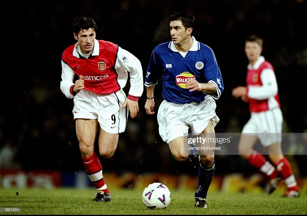 Theo Zagorakis of Leicester is challenged by Davor Suker of Arsenal during the FA Cup 4th Round Replay played at Filbert Street in Leicester, England. The game ended without score. \ Mandatory Credit: Jamie McDonald /Allsport