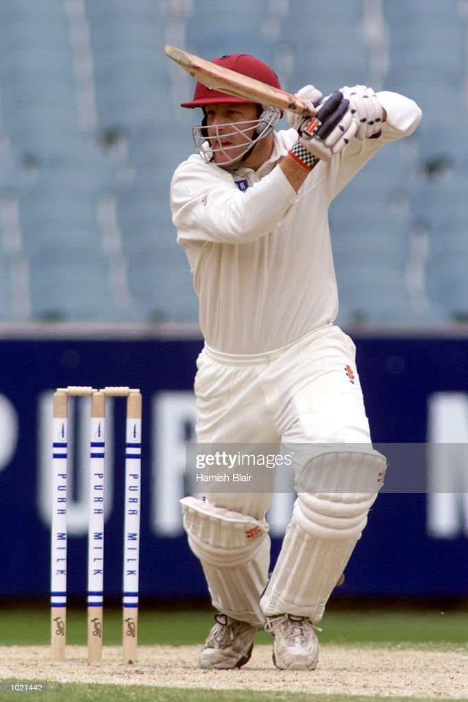 Wade Seccombe of Queensland hits out on his way to a century, during the Pura Milk Cup match between Victoria and Queensland at the Melbourne Cricket Ground, Melbourne, Australia Mandatory Credit: Hamish Blair/ALLSPORT