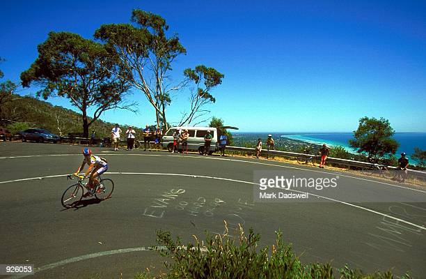 A general view of riders climbing Arthurs Seat during the SkilledBay Melbourne to Sorrento cycling race Victoria Australia Mandatory Credit Mark...