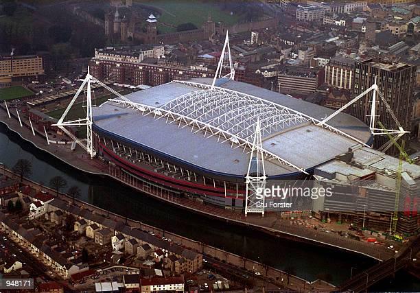Aerial view of the Millennium Stadium in Cardiff Wales Mandatory Credit Stu Forster /Allsport