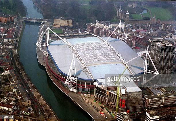Aerial view of the Millennium Stadium in Cardiff Wales Mandatory Credit Stu Forster /Allsport