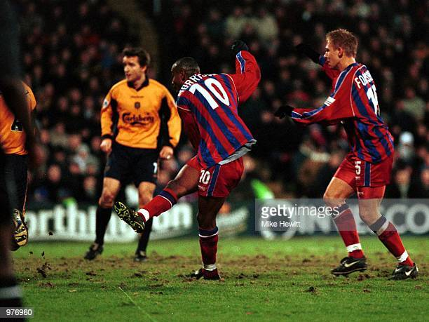 Clinton Morrison of Crystal Palace scores the 2nd goal during the Worthington Cup SemiFinal First Leg between Crystal Palace and Liverpool at...