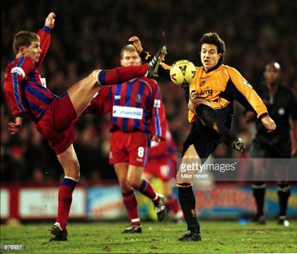 Dean Austin of Crystal Palace and Jari Litmanen of Liverpool in action during the Worthington Cup SemiFinal First Leg between Crystal Palace and...