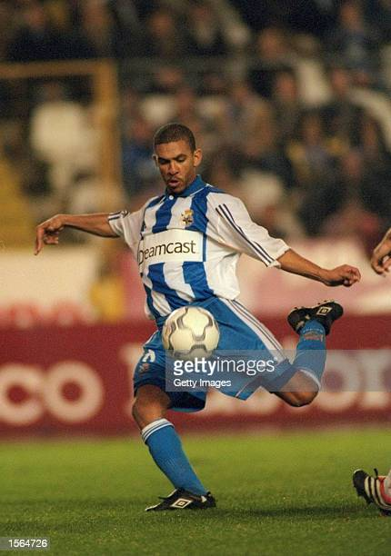 Djalminha of Deportivo La Coruna in action during the Spanish Primera Liga match against Valencia played at the Estadio Raizor in La Coruna Spain...