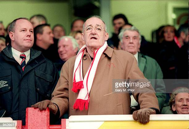Former Bullseye TV presenter Jim Bowen watching his Morecambe side play during the AXA sponsored FA Cup 3rd round match against Ipswich Town played...