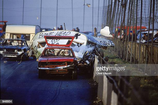 General view of the carnage during Stock Car Racing at the Buxton Raceway in England Mandatory Credit Clive Mason /Allsport