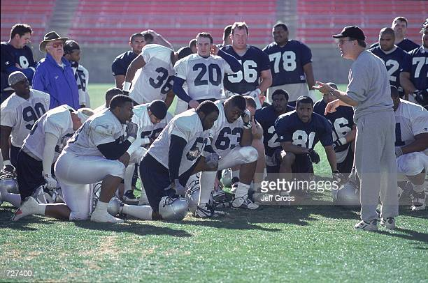 Head Coach Al Luginbill of the Los Angeles Extreme talks to his team during Training Camp at the Sam Boyd Stadium in Henderson NevadaMandatory Credit...