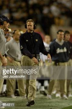 Head coach Bob Davie of Notre Dame looks for a way to stop Oregon State during the Fiesta Bowl at Sun Devil Stadium in Tempe Arizona<DIGITAL IMAGE>...