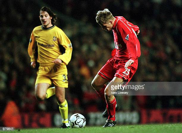 Igor Biscan of Liverpool scores the third goal during the Liverpool v Crystal Palace Worthington Cup Semifinal second leg match at Anfield Liverpool...