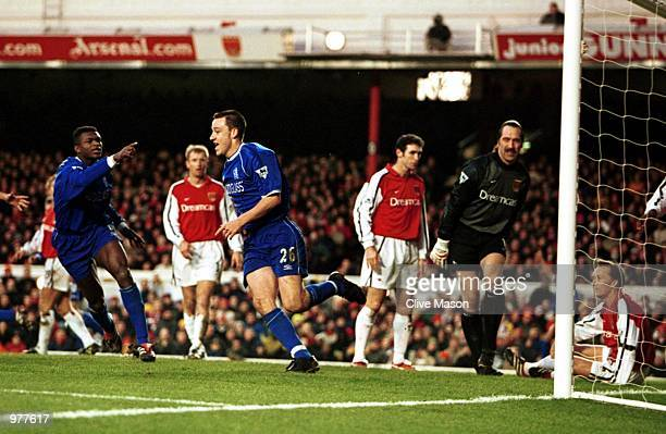 John Terry of Chelsea celebrates scoring for Chelsea during the FA Carling Premiership game between Arsenal and Chelsea at Highbury London Mandatory...