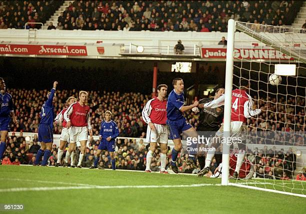 John Terry of Chelsea scores the equalising goal during the FA Carling Premiership match against Arsenal played at Highbury in London The match ended...