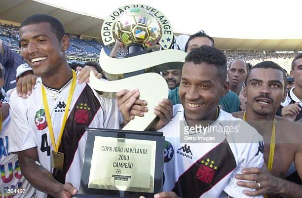 Junior Baiano and Viola of Vasco De Gama hold up the trophy after winning the Brazilian National Cup Final the Jose Havelange Cup between Vasco De...