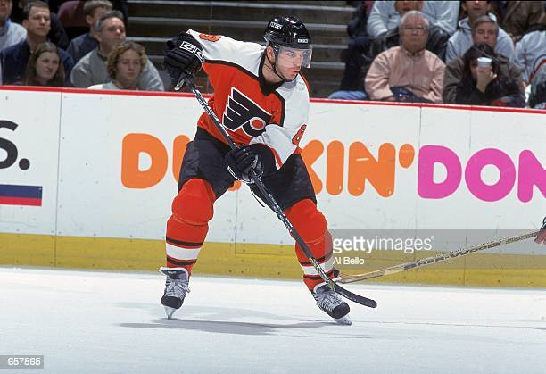 Mark Recchi of the Philadelphia Flyers moves on the ice during the game against the New Jersey Devils at the Continental Airlines Arena in East...
