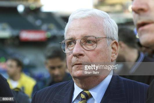 Owner Art Modell of the Baltimore Ravens walks across the field after beating the Oakland Raiders 163 in the AFC Championship at Network Associates...