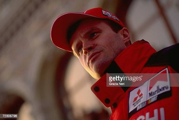 Portrait of Tommi Makinen of Finland driving the Mitsubishi Lancer EVO VI WRC during the FIA World Rally Championships Monte Carlo Rally in Monte...