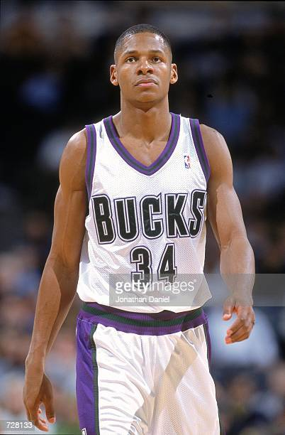 Ray Allen of the Milwaukee Bucks walks on the court during the game against the New York Knicks at the Bradley Center in Milwaukee Wisconsin The...