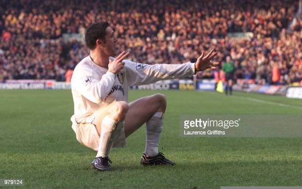 Robbie Keane of Leeds United celebrates his goal during the FA Carling Premiership game between Leeds United and Newcastle United at Elland Road...