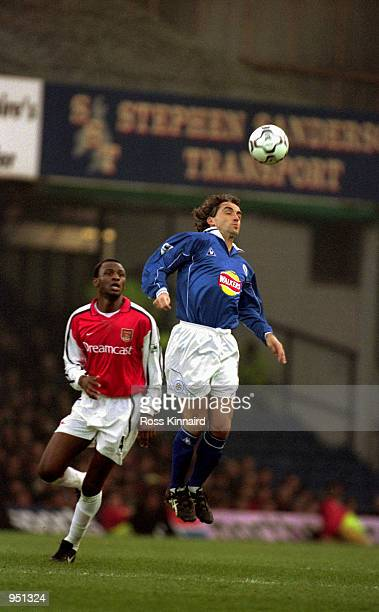 Roberto Mancini of Leicester City controls the ball while being closely watched by Patrick Vieira of Arsenal during the FA Carling Premiership match...