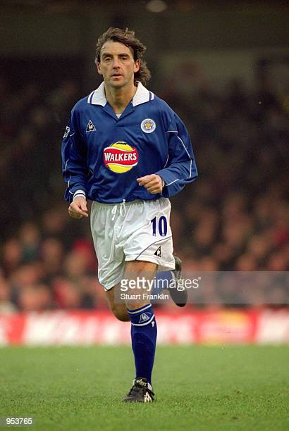 Roberto Mancini of Leicester City in action during the FA Carling Premiership match against Arsenal played at Filbert Street in Leicester England The...