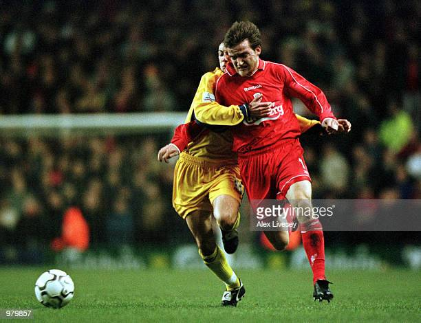 Vladimir Smicer of Liverpool beats Wayne Carlisle of Palace to score the first goal during the Liverpool v Crystal Palace Worthington Cup Semifinal...