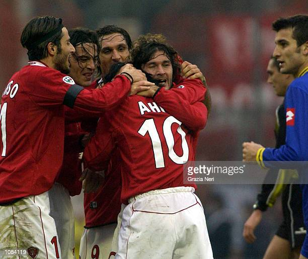 Ahn of Perugia celebrates his goal with fellow team mates during the Serie A 20th Round League match played between Perugia and Verona at the Renato...