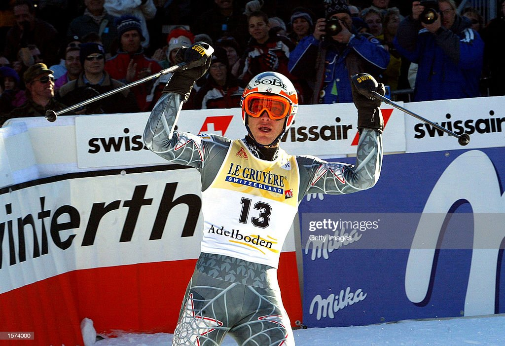 Bode Miller of the USA celebrates winning the Slalom at the FIS event in Adelboden, Switzerland. DIGITAL IMAGE Mandatory Credit: Allsport UK/Getty Images
