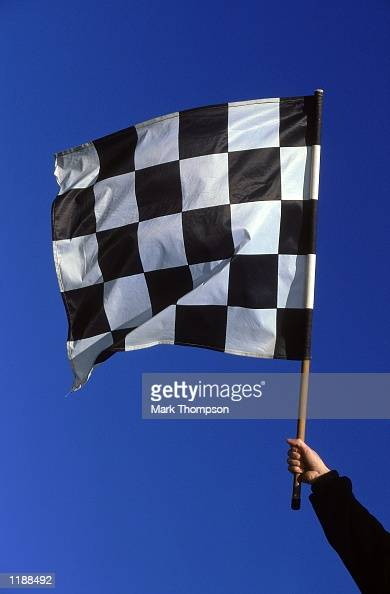 Chequered flag during the Formula One Winter Testing held in Valencia Spain Mandatory Credit Mark Thompson /Allsport