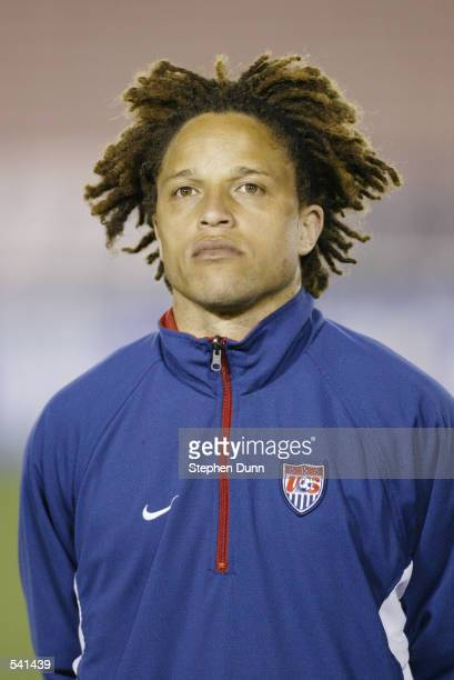 Cobi Jones of the USA during pregame introductions for their CONCACAF Gold Cup semifinal game at the Rose Bowl in Pasadena California The USA beat...