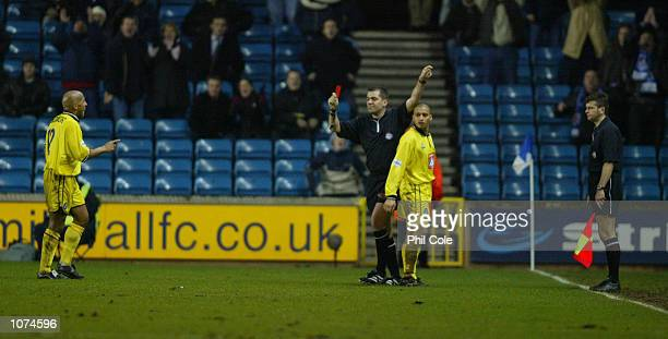 Curtis Woodhouse of Birmingham is sent off during the Nationwide League Division One match between Millwall and Birmingham City at the New Den London...