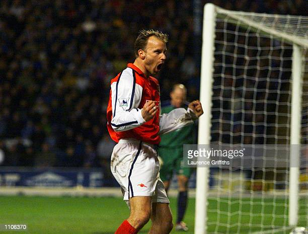 Dennis Bergkamp of Arsenal celebrates his goal during the FA Barclaycard Premiership match between Blackburn Rovers and Arsenal played at Ewood Park...