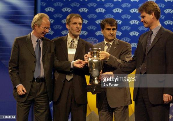 England manager Sven Goran Eriksson with other mangers from England's group after the draw for Euro 2004 Football Championships Qualification at the...