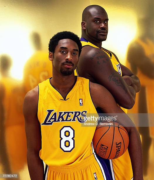 Kobe Bryant and Shaquille O'Neal of the Los Angeles Lakers pose for a portrait in Los Angeles California NOTE TO USER User expressly acknowledges and...