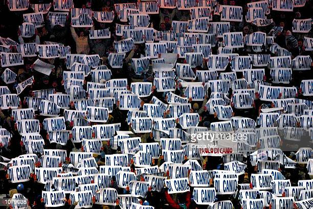Lazio fans show their support for former hero Paolo Di Canio who they want the club to resign during the Italian Cup match between Lazio and AC Milan...