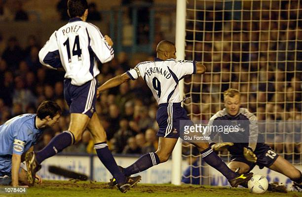 Les Ferdinand of Tottenham Hotspur scores their second goal during the AXA sponsored FA Cup Third Round match between Coventry City and Tottenham...