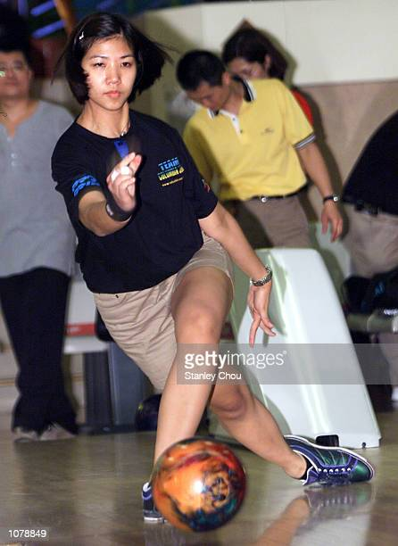 Liza Del Rosario of the Philippines in action during the official practice of the CGU Asian Bowling Tour 2001 Grand Slam Finals held at the Cathay...