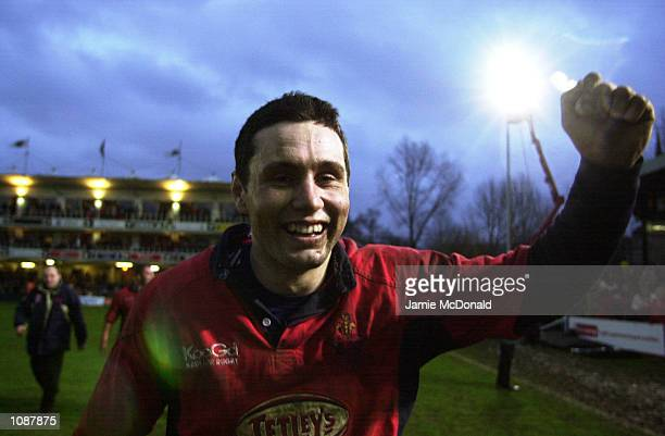 Llanelli points scorer Stephen Jones celebrates victory in the Heineken Cup quarter final game between Bath and Llanelli at the Recreation Ground in...
