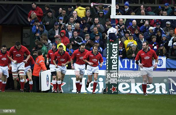 Llanelli team take to pitch during the Heineken Cup quarter final game between Bath and Llanelli at the Recreation Ground in Bath DIGITAL IMAGE...