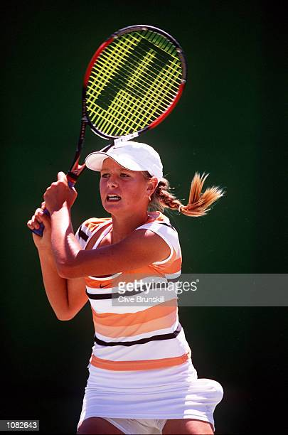 Maria Sharapova of Russia in action during the Australian Open 2002 Tennis Championships at Melbourne Park Melbourne Australia DIGITAL IMAGE...