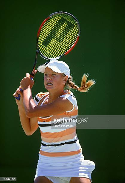 Maria Sharapova of Russia in action during the Australian Open girl's singles first round match held at Melbourne Park in Melbourne Australia...