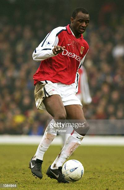 Patrick Vieira of Arsenal runs with the ball during the AXA sponsored FA Cup third round match against Watford played at Vicarage Road in Watford...
