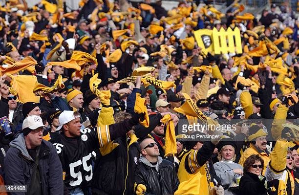 Pittsburgh Steelers fans cheer on their team against the Baltimore Ravens during the AFC divisional playoff game at Heinz Field in Pittsburgh...