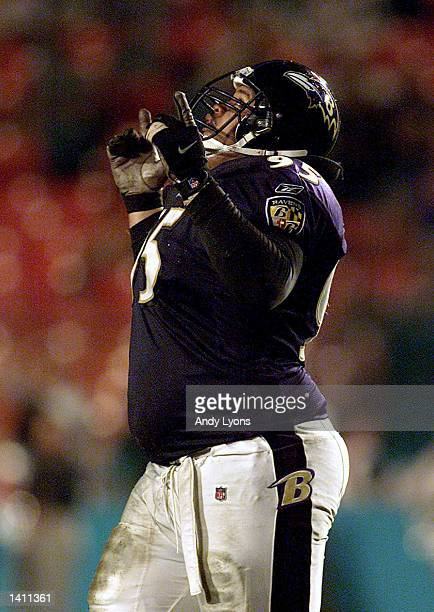 Sam Adams of the Baltimore Ravens clebrates after beating the Miami Dolphins in an AFC wildcard playoff game at Pro Player Stadium in Miami Florida...