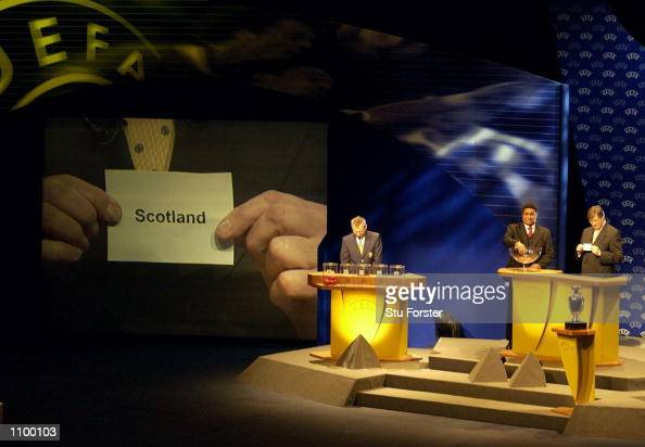 Scotland come out of the draw for group 5 during the draw for the Euro 2004 Football Championships Qualification at the Congress Center EuroPark in...