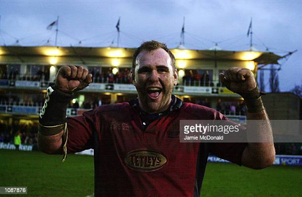 Scott Quinnell of Llaenlli celebrates victory in the Heineken Cup quarter final game between Bath and Llanelli at the Recreation Ground in Bath...