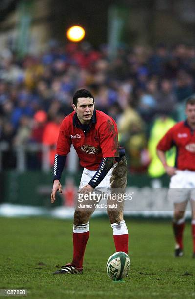 Stephen Jones of Llanelli lines up a kick during the Heineken Cup quarter final game between Bath and Llanelli at the Recreation Ground in Bath...