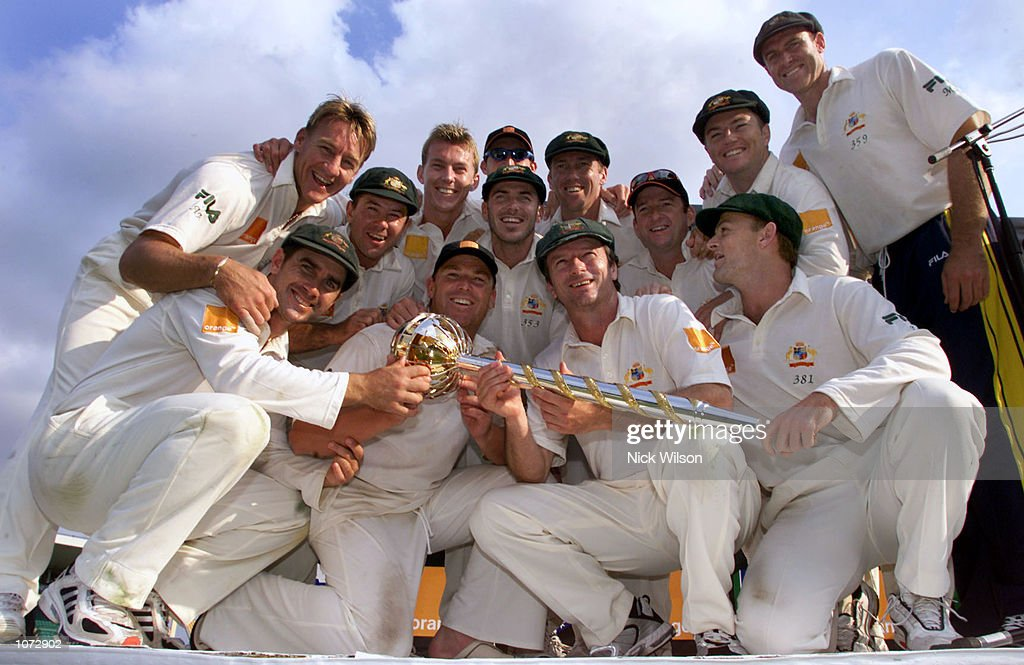 The Australian Team with the ICC World Championship Mace after defeating South Africa by ten wickets in the third Test between Australia and South...