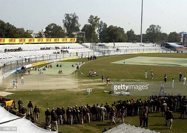 The England plays play in the nets watched by the army during the England nets session at Green Park Kanpur India DIGITAL IMAGE Mandatory Credit Tom...